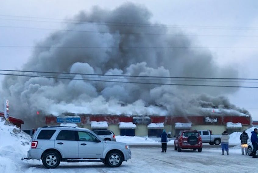 Firefighters from Happy Valley-Goose Bay were battling a fire at a shopping plaza in the town on Sunday afternoon, March 3.