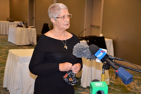 Jeannette Rogers, mother of Corey Rogers who died of asphyxiation in the Halifax Regional Police lockup in 2016, speaks to media on Monday, Nov. 2, about the appeal of the discipline the department handed out to the three arresting officers.