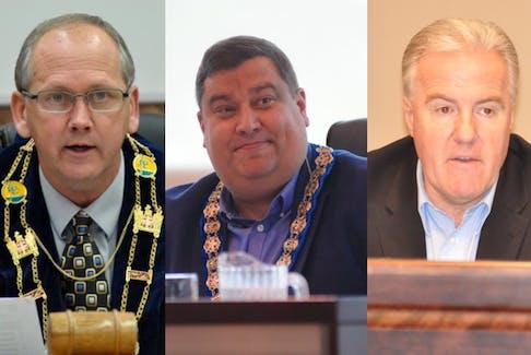 From the left, Stephenville Mayor Tom Rose, Corner Brook Mayor Jim Parsons and Dean Ball, mayor of Deer Lake.