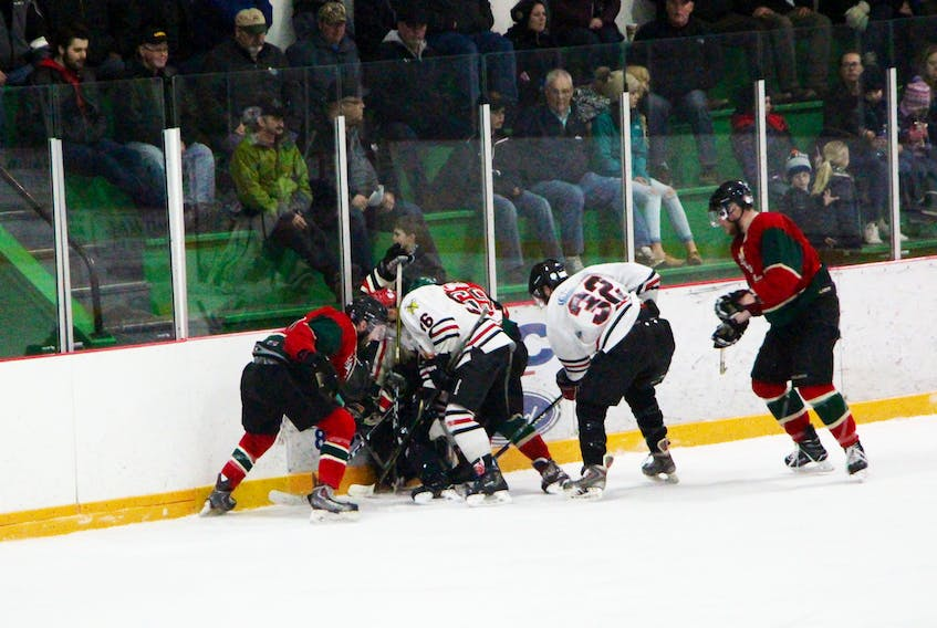There is sure to be plenty of fierce puck battles at the Heatherton Warriors and Pleasantdale Panthers continue their Antigonish Rural League final series Saturday night at the Antigonish Arena. Pleasantdale leads the series 3-1 and can wrap-up the title with a win. If Heatherton wins, they'l have to be ready to do the same Sunday night in game six. Puck drop is 7 p.m. Saturday and, if necessary, Sunday as well.