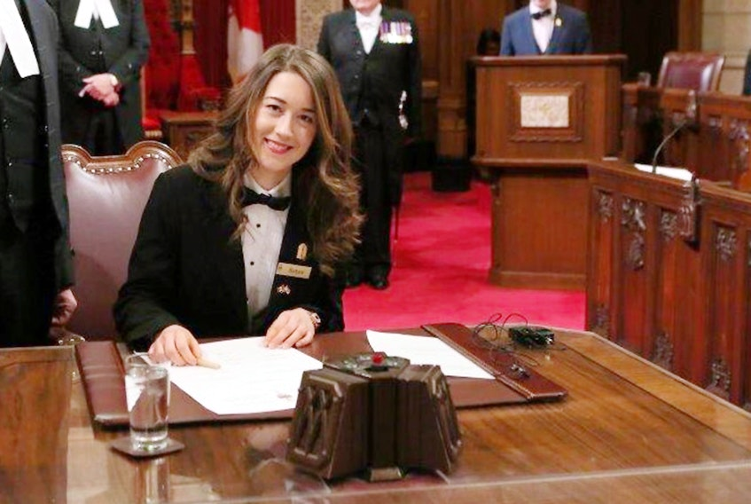 P.E.I. native Sarah Crosby is sworn in as one of 15 Senate pages in Canada's upper chamber last year. Crosby was honoured last week when she was sworn in as Deputy Chief Page of the Senate. SUBMITTED PHOTO