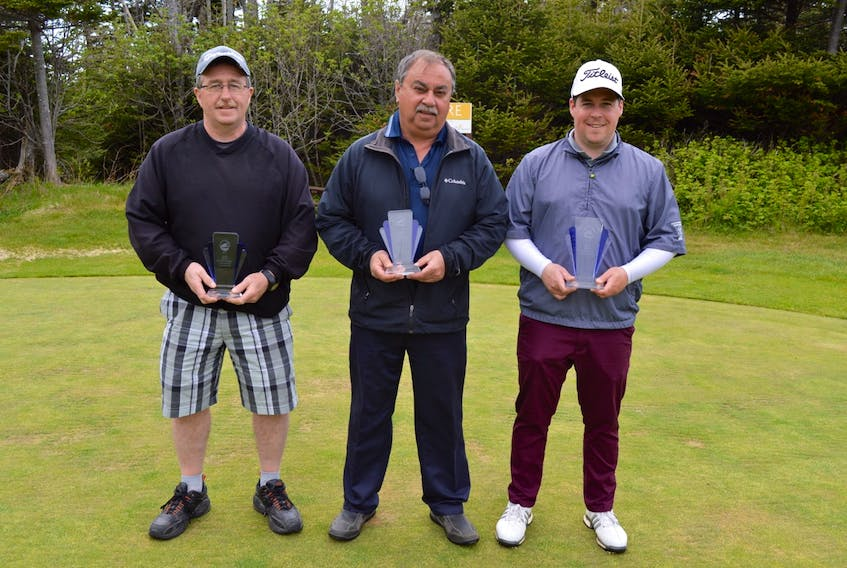 From left, Glenn Price, Gary Smith and Matthew Hackett were division winners for the 2019 Grande Meadows Invitational.