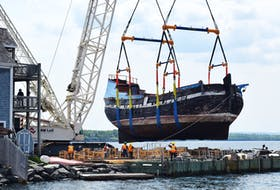 The Ship Hector was lifted from the Pictou Harbour on Friday, June 5 so that it can undergo extensive repairs.