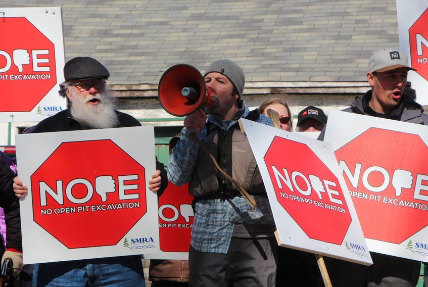 A group of more than 50 people marched to the new office location of Atlantic Gold in Sherbrooke, rallying against a propose gold mine in the Cochrane Hill area of the Municipality of the District of St. Mary's. Rallygoers saw support as they chanted to passing motorists, with plenty of waves and honking horns.