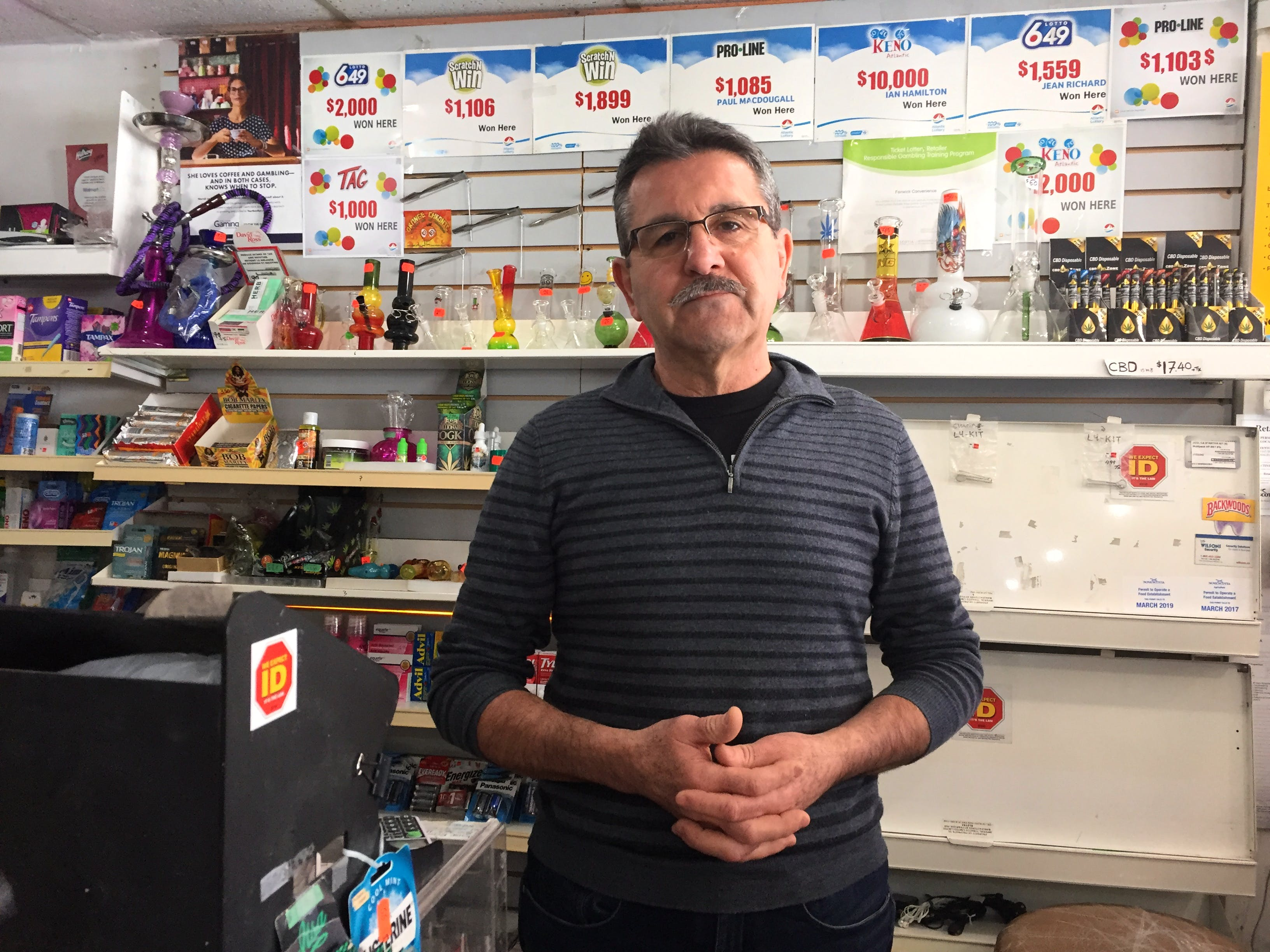 George Joukhadar, the proprietor of Fenwick Convenience store in Halifax, says he always checks for ID when someone who looks underage asks to buy a lottery ticket. He is shown in his store on Saturday, Feb. 15, 2020.