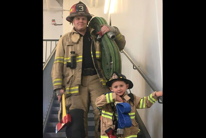 Retaining and recruiting volunteer firefighters is a problem many fire departments face. The Municipality of the District of Lunenburg is developing a retention/recruitment strategy for its 24 fire departments. Middle LaHave resident Kevin Corkum hopes his son, Liam, 5, becomes a firefighter like him and his father, Frank.  - Amanda Corkum