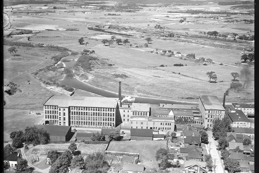 Historical aerial shot of the Stanfield woolen mill in Truro, N.S. - Nova Scotia government archives.