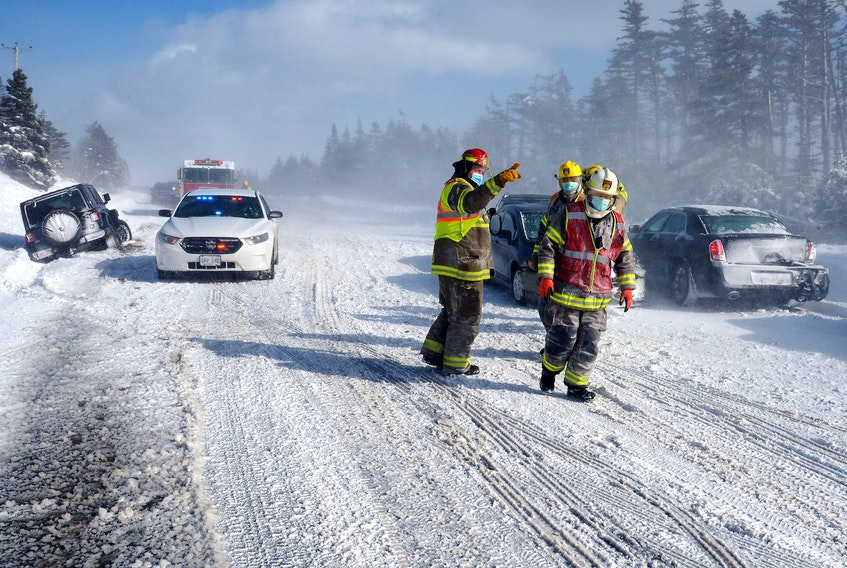 Two collisions in whiteout conditions on Portugal Cove Road closed the road for a time until the scene could be cleared. Keith Gosse/The Telegram