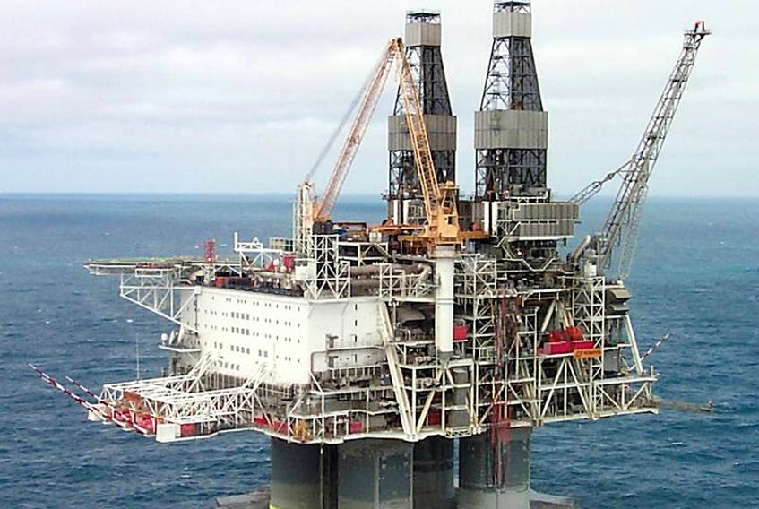 The Hibernia platform was forced to shut down late Sunday when it was discovered it was leaking fluid.