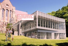An architectural rendering of the proposed annex to be built adjacent to the Anglican Cathedral in downtown St. John's.