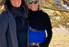 Roxanne Walsh-Seabright (left) and Janet Langdon are co-owners of the Newfoundland Dog Company. They do Gander-inspired clothing and accessories. Contributed photo
