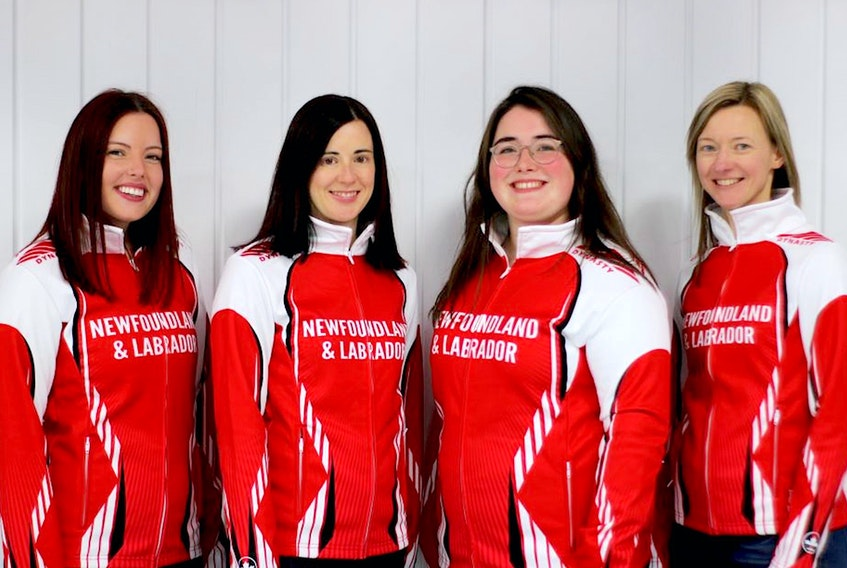 The St. John's rink of (from left) skip Sarah Hill, third Beth Hamilton, second Lauren Barron and lead Adrienne Mercer is representing Newfoundland and Labrador at the 2021 Scotties Tournament of Hearts Canadian women's curling championship. The team's first game is today against New Brunswick — Contributed