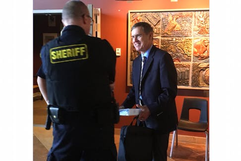 After adjourning the final hearing for the Muskrat Falls Inquiry at the Lawrence O'Brien Arts Centre in Happy Valley-Goose Bay on Thursday, Commissioner Richard LeBlanc took time to personally thank staff and the sheriff's officers assigned for their work. LeBlanc has until Dec. 12 to file his final report.