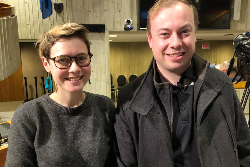 Rachel Webb Jekanowski with the Social Justice Co-operative of Newfoundland and Labrador and Travis Inkpen with the Social Justice Co-operative and the Coalition for a Green New Deal NL attended Monday's council meeting where a petition they helped organize was presented to council.