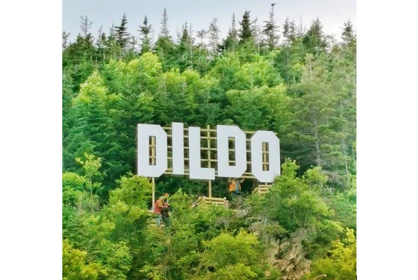 Letters measuring 10 feet high and five feet wide on a hill overlooking the tiny Trinity Bay town of Dildo — population 1,500 — were put in place this week, thanks to American TV talk-show host Jimmy Kimmel. The letters — the cost of which were covered by Kimmel's producers, along with land donation by the Smith families in the town — were installed to mirror the Hollywood hills letters in California.