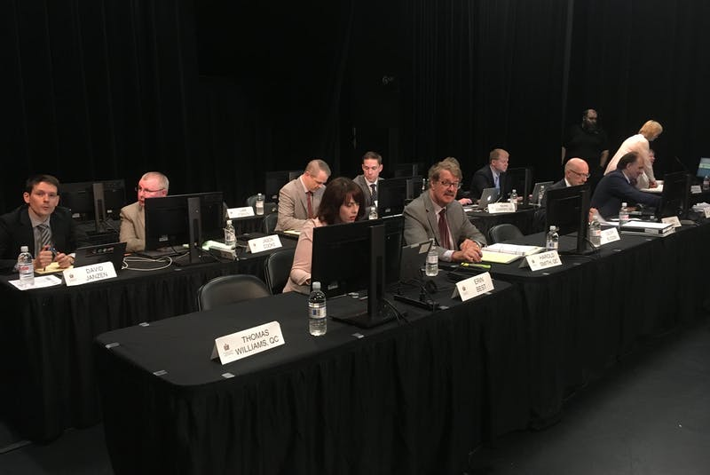 Lawyers for parties with standing at the Muskrat Falls Inquiry wait for the start of proceedings, as final submissions are offered to Commissioner Richard LeBlanc at the Lawrence O'Brien Arts Centre in Happy Valley-Goose Bay on Monday. - SaltWire Network file photo