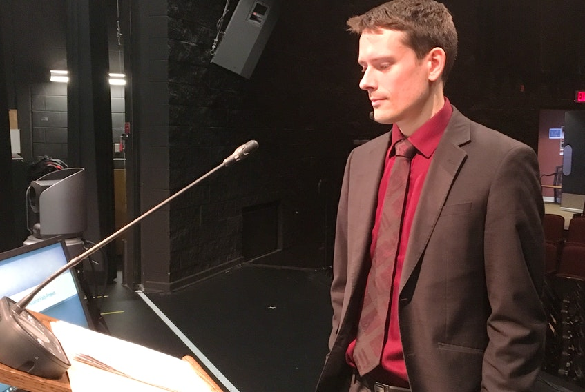 Lawyer David Janzen, representing the Conseil des Innus de Ekuanitshit, prepares to give a final submission at the Muskrat Falls Inquiry hearings Wednesday at the Lawrence O'Brien Arts Centre in Happy Valley Goose Bay.