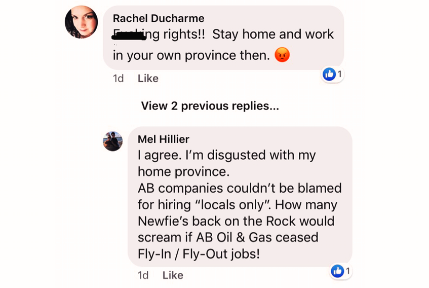 Some comments on social media by Albertans who are angry about how Newfoundlanders and Labradorians voted in Monday's federal election.