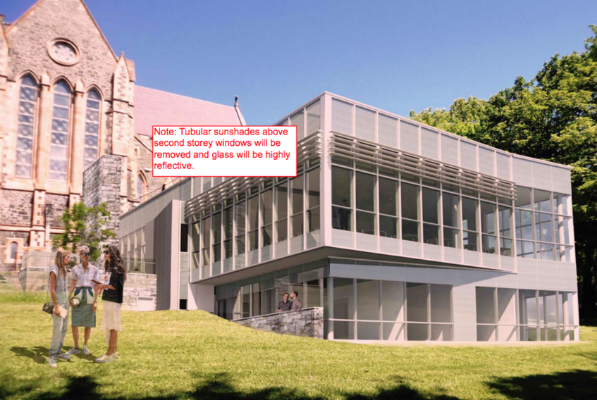 An architectural rendering of the proposed annex to be built next to the Anglican Cathedral of St. John the Baptist has a modern design that doesn't meet the city's development regulations, and therefore requires council approval.