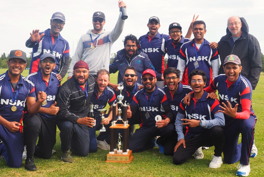 Members of the Newfoundland Super Kings, 2019 Cricket NL Summer League champions, are shown after clinching the title Saturday. Celebrating the win are (from left), front row: Wajid Moinuddin, Fahan Asif, Amit Sundly, Nick Baxter, Rakesh Negi (captain), Randeep Sidhu, Aditya Dave, Harsh Gajjar and Deep Patel; back row: Shaikh Arifusalam, Neelav Diwan, Talha Riaz, Zoheb Khan, Meet Shah, Raga Ganesan and Dave Liverman. Missing from photo are Abhishek Doshi and Purvi Kalyan. — Submitted