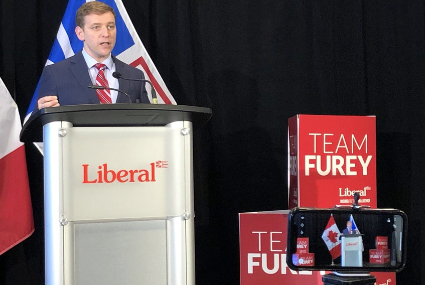 Premier Andrew Furey speaks Saturday after learning unofficial election results show his Liberal Party has won a majority in the Newfoundland and Labrador legislature. — Joe Gibbons/The Telegram