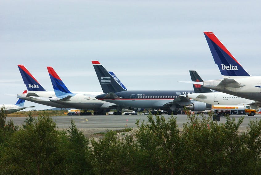 These planes were among the literally parking lot full of jets that were landed and parked at St. John's International Airport following the multiple attacks on Sept. 11, 2001. File/Telegram
