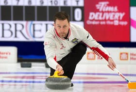 Brad Gushue got perfect marks on all 18 rocks he threw as he and Team Canada defeated Ontario 6-2 in the opening draw of the 2021 Tim Hortons Brier Friday night in Calgary. — Curling Canada photo