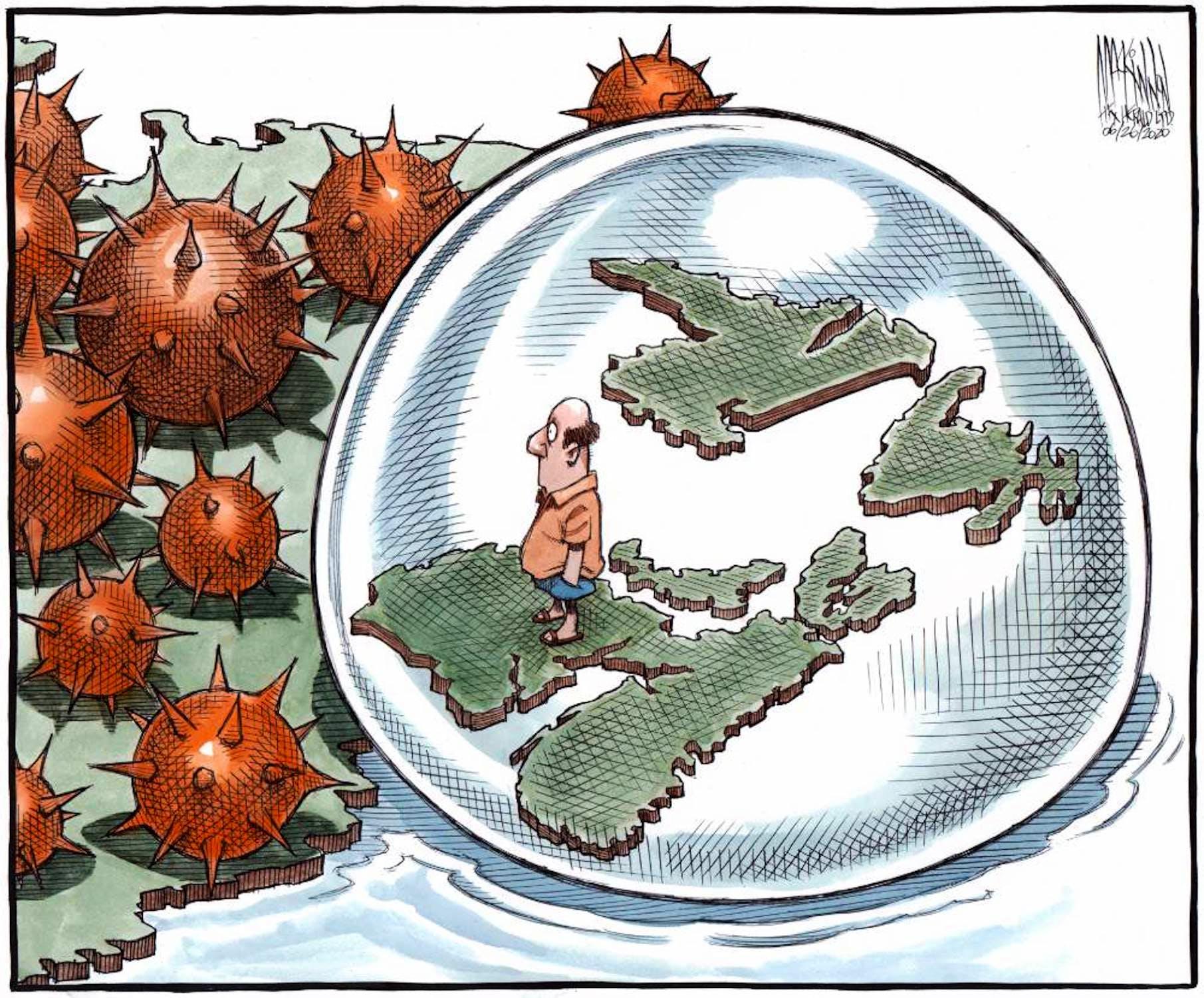 SaltWire Network cartoonist Bruce MacKinnon's June 26 cartoon on the Atlantic bubble.