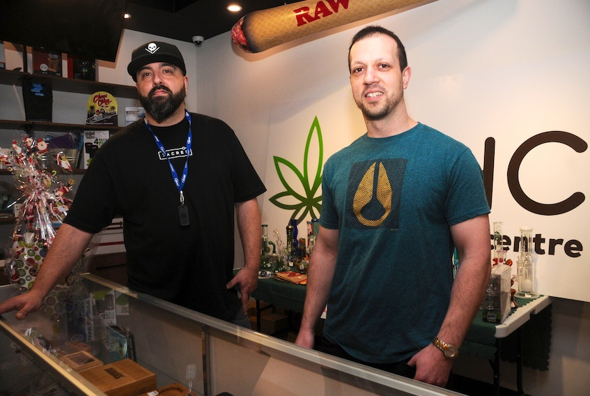 The Herbal Centre employee Cec Howse, left, and store owner Kenneth Oliver hope the availability of cannabis edibles will bring in new customers.