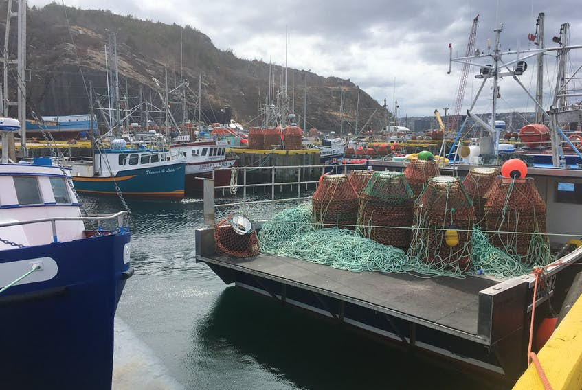 Crab bots sit on the deck of a boat in St. John's harbour.