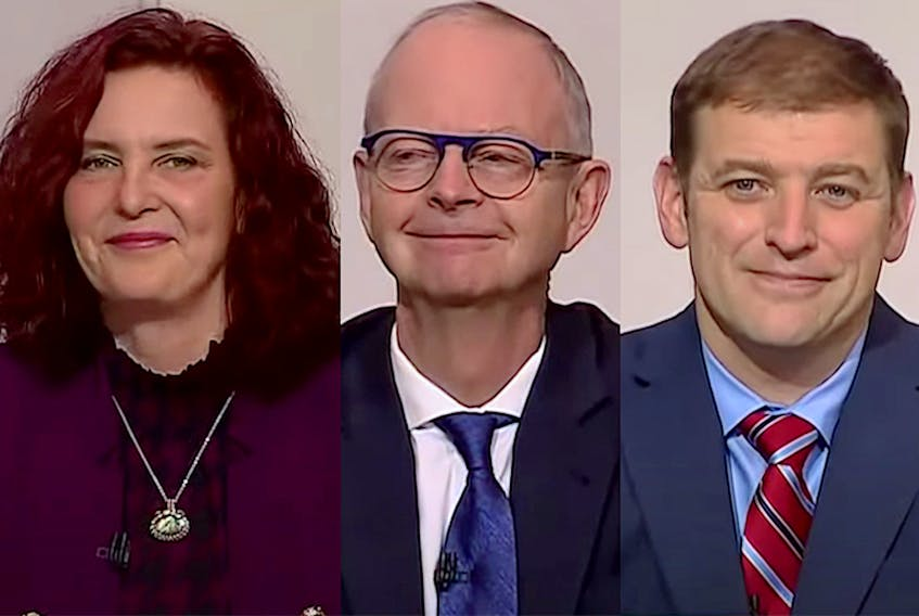 The three leaders who participated in Wednesday's televised debate from the chambers of the Newfoundland and Labrador House of Assembly, from left, the NDP's Alison Coffin, PC's Ches Crosbie and Liberal's Andrew Furey, were all smiles as the event started. — CPAC/YouTube Screenrabs