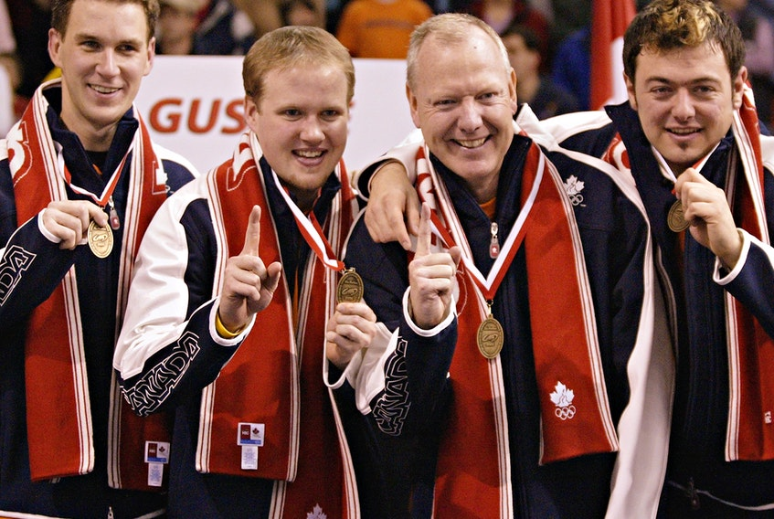 The gold-winning Olympic Team Gushue (from left) Brad Gushue, Mark Nichols, Russ Howard and Jamie Korab. (Missing from photo is Mike Adams). FILE PHOTO