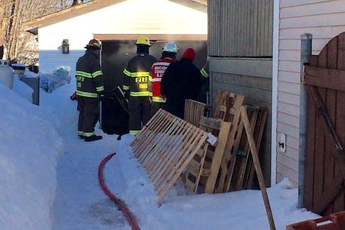 The scene of a garage fire on Burgess Avenue Thursday, Feb. 6.