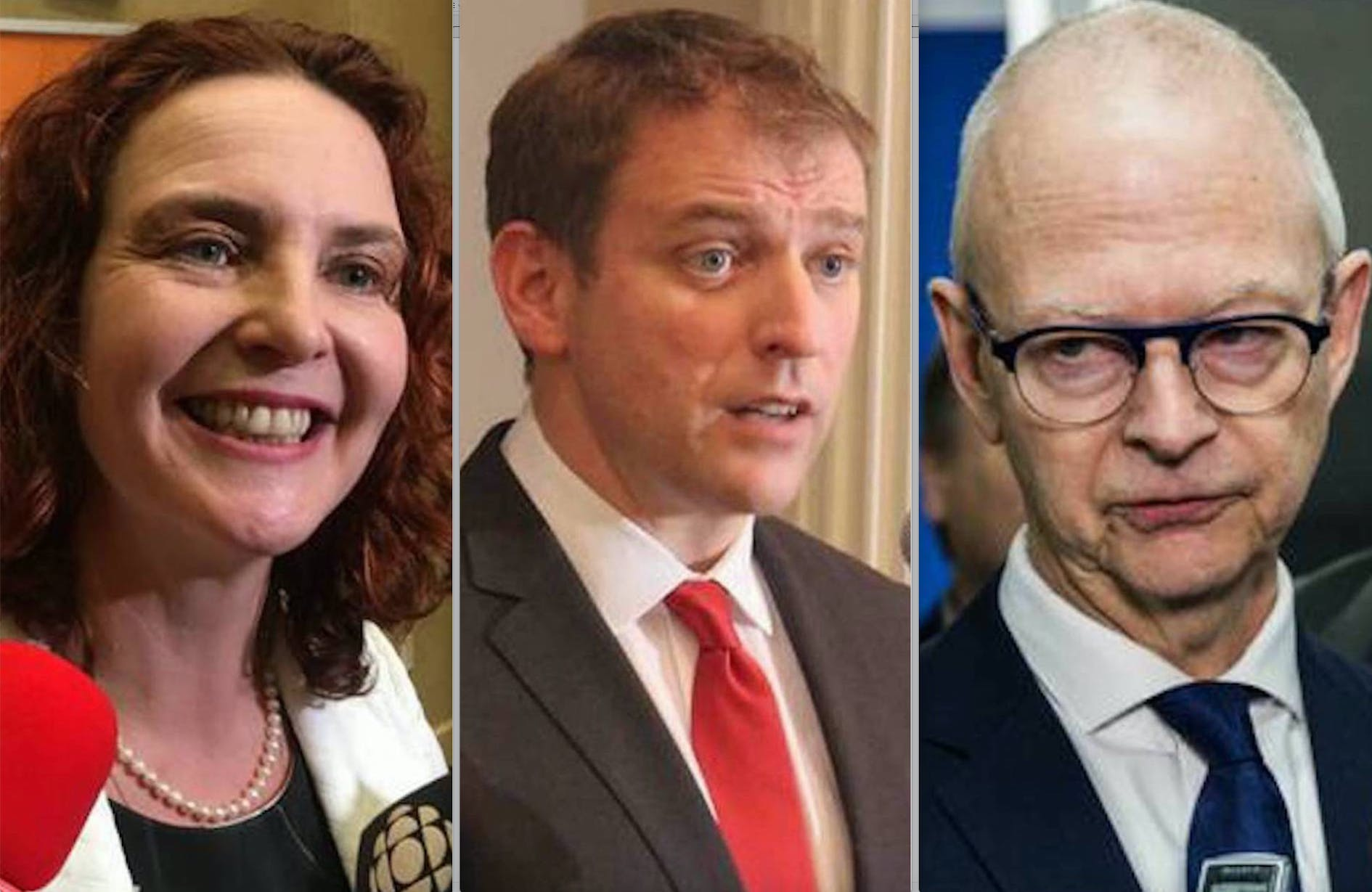 The NDP's Allison Coffin (left) and PC's Ches Crosbie (right) are campaigning in St. John's today, while Liberal leader Andrew Furey began Saturday on the Burin Peninsula. — File photos