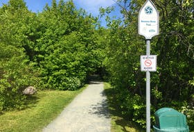 The entrance to Rennie's River Trail on Elizabeth Avenue in St. John's.