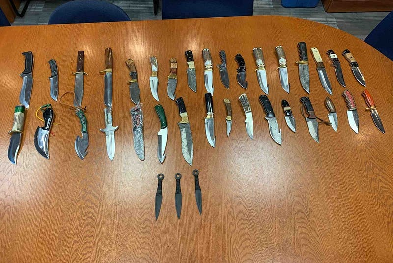 Police say they confiscated 36 knives from the cab of George Brake's truck. - Keith Gosse/The Telegram