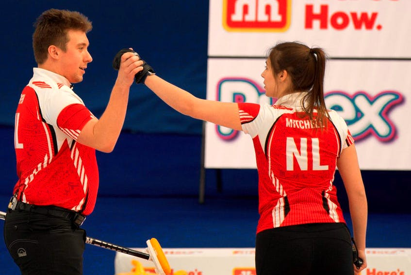 A big come-from-behind win Monday means the Newfoundland and Labrador team of Greg Smith and Mackenzie Mitchell will likely have a berth in the playoffs at the Canadia=n mixed doubles curling championship in Calgary.