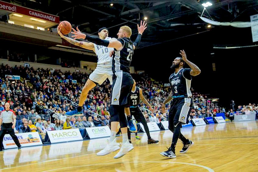 In this file photo, St. John's Edge guard Jarryn Skeete (10) looks to make a pass in a National Basketball League of Canada game against the Moncton Magic at Mile One Centre. The NBLC says factors associated with the COVID-19 pandemic mean the 2020-21 season, which was to have started March 12, will not be played at all. — File photo - Contributed