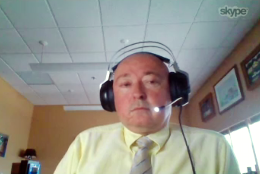 Justice Donovan Molloy, now in the Northwest Territories, testifies by video conference at the Muskrat Falls Inquiry Monday. Due to a poor connection, a short time into his testimony, the decision was made to allow Molloy to testify by phone (audio only). — Screen capture; muskratfallsinquiry.ca