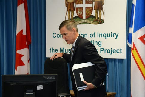 Muskrat Falls Inquiry Commissioner Richard LeBlanc takes his seat prior to start of the first day of the inquiry's third and final phase.