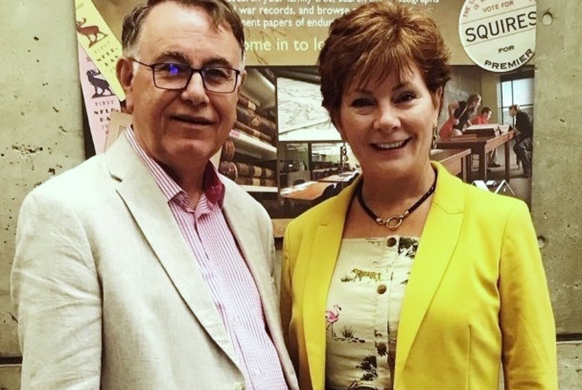 """""""Operation Vanished"""" author Helen C. Escott with Larry Dohey, director of programming and public engagement at The Rooms. A character based on Dohey in Escott's book is an archivist helping police with the plot's mystery."""