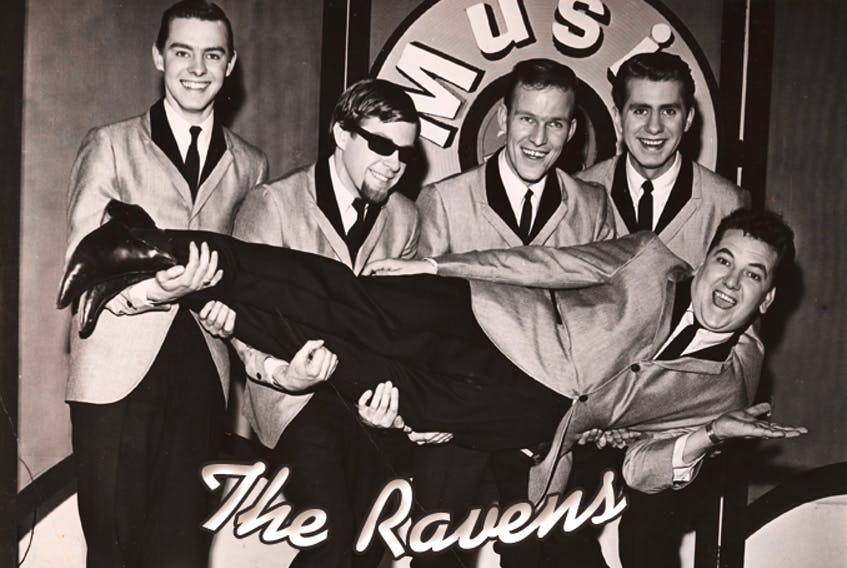 """Ravens skylarking on the set of CBC TV's """"Music Hop."""" (Back row, from left) Don Oakley, Darroch (Rocky) Wiseman, Jim Hennessey, Rod French. (Front) Paul Rumsey. Original photographer unknown. Photo enhanced by Wayne Sturge"""