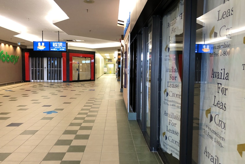 It's the sign of the times at Random Square Mall in Clarenville, with For Lease signs replacing company logos. During the COVID pandemic the retail sector across Atlantic Canada took a hard hit.
