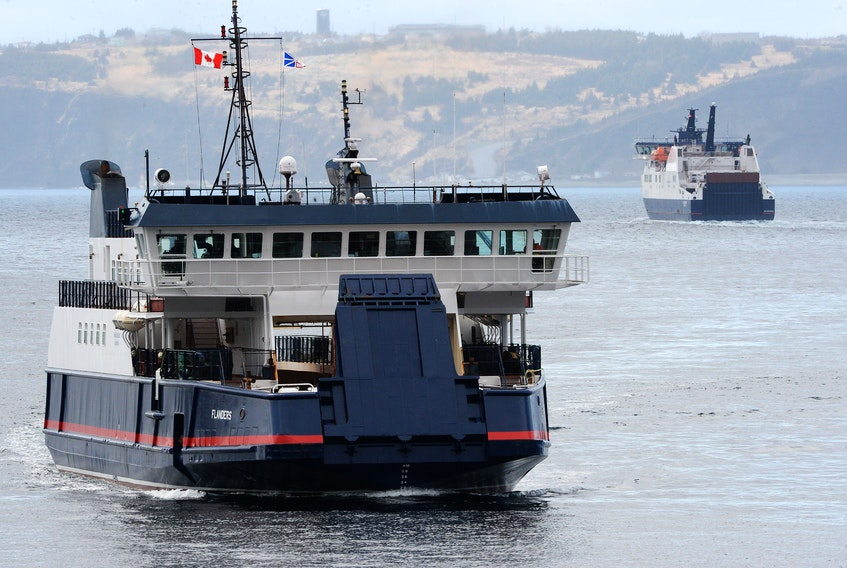 The Bell Island ferry Flanders heads towards Portugal Cove as the Legionnaire(right) crosses the Tickle to Bell Island. Keith Gosse/Telegram file photo