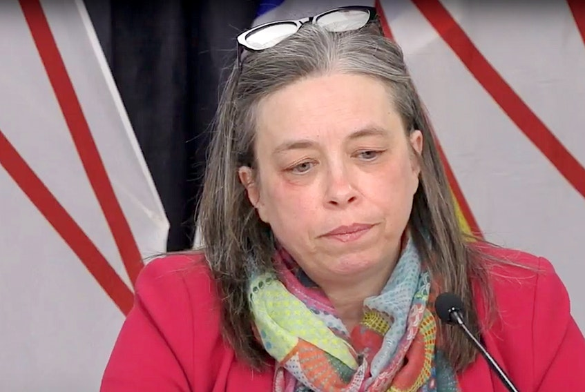 Dr. Janie Fitzgerald, the province's Chief Officer of Medical Health, listens to a question during Wednesday's briefing. — YouTubeScreengrab