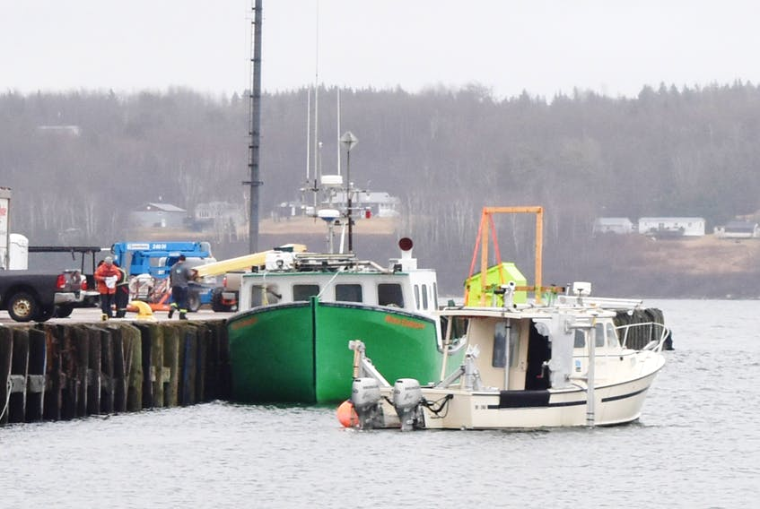 A survey boat can be seen near Pier C in Pictou this week. Earlier this year it was forced by fishermen to return on Tuesday, Oct. 23.