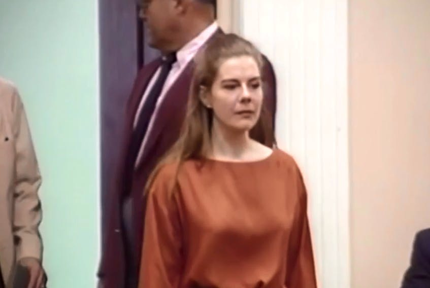 Elizabeth Haysom, shown here during her trial, and Jens Soering, the son of a German diplomat, have been granted parole. They were both convicted in the murders of Dereck and Nancy Haysom, Elizabeth's parents. Dereck was at one time a president of the Sydney Steel Corporation.