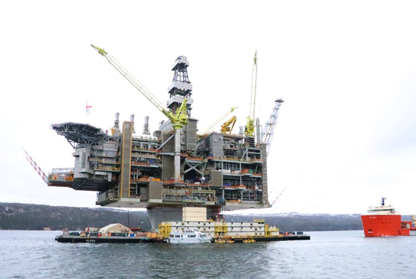 The Hebron platform, in April 2017, prior to tow-out from the Bull Arm fabrication site.