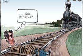 Bruce MacKinnon's editorial cartoon for FEb. 21, 2020. VIA rail, CN rail, layoffs, rail yard, protests, blockade, Wet'suwet'en Nation, climate activists.