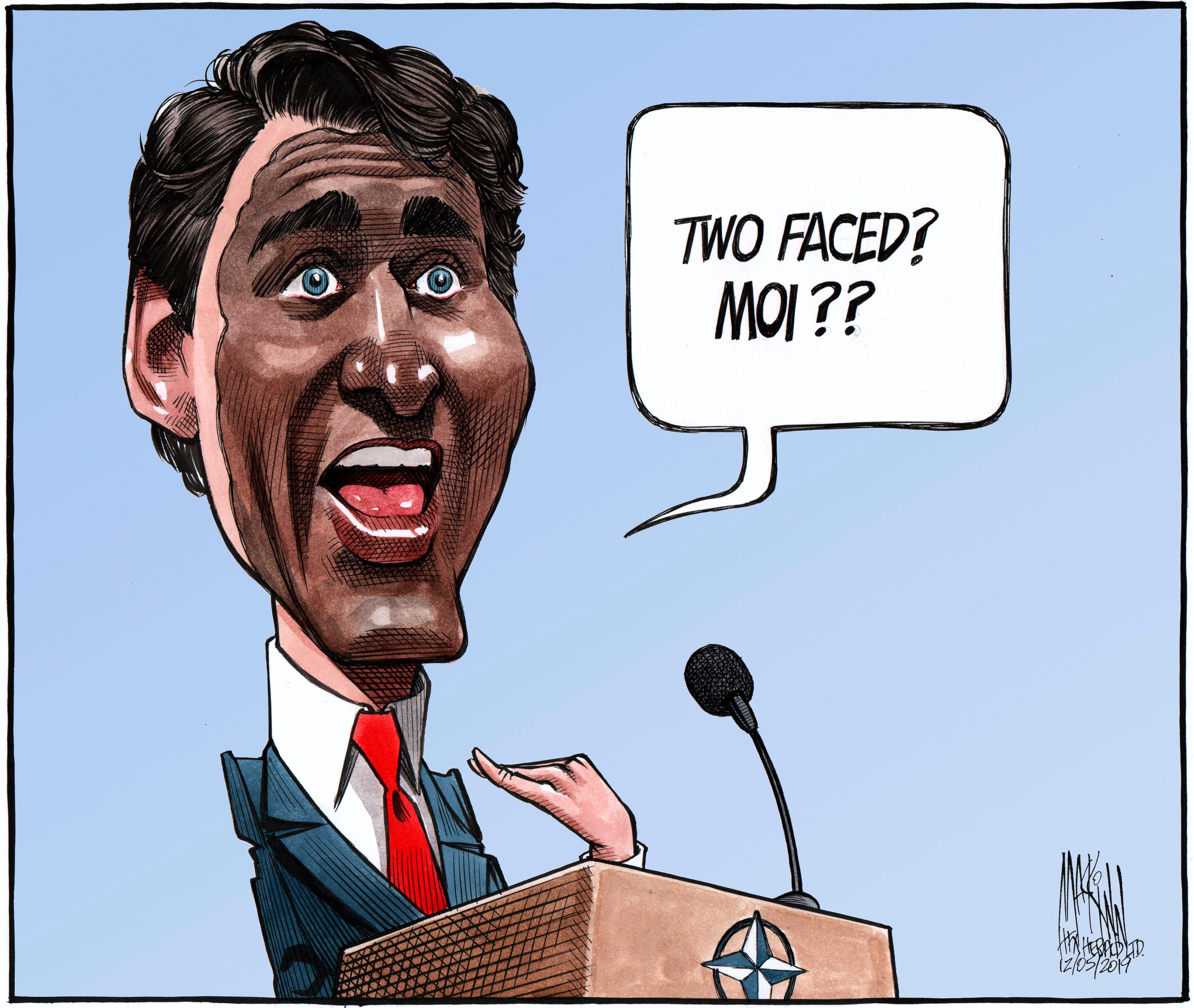 Bruce MacKinnon's editorial cartoon for Dec. 5, 2019. Prime Minister Justin Trudeau, blackface, scandal, Donald Trump, G&, two-faced.